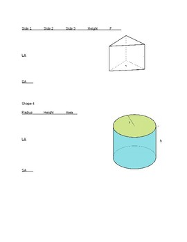 test on 3d shapes lateral and total surface area