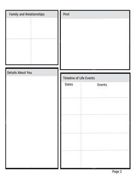 Social Studies: Facebook Character Analysis / Sketch Template