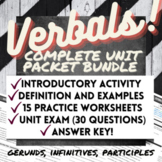 Grammar Worksheets, Test: VERBALS UNIT PACKET (gerunds, participles, infinitive)