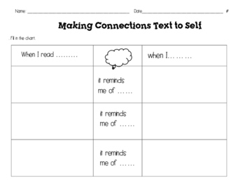 text to self graphic organizer