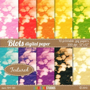 "textured digital paper with bright tie dye look - 10 12""x12"" .jpg files TPT181"