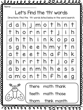 th Digraph Word Work Activities