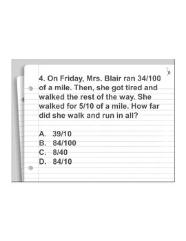 4th Grade ActivInspire 5 question assessment 4.NF.C.5 (Adding tenths/hundredths)