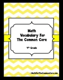 4th Grade Math Vocabulary Word Wall with White Background