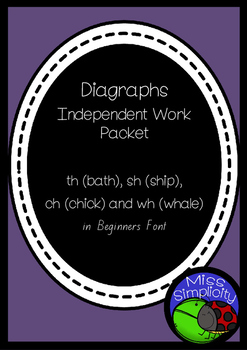 th ch sh wh  DIGRAPHS INDEPENDENT phonics pack  BEGINNERS QLD FONT