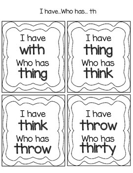 th digraph I have Who has