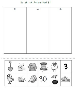 TH SH CH Worksheet: Consonant Digraphs Worksheets: th sh ch Digraph Picture Sort