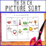 TH SH CH Picture Sort Worksheet - Consonant Digraphs Printables