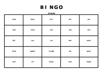 th word Bingo