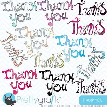 thank you alphabet word art clipart commercial use, vector