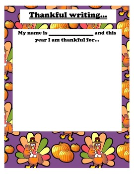 """""""thankful writing"""" template for Thanksgiving!"""