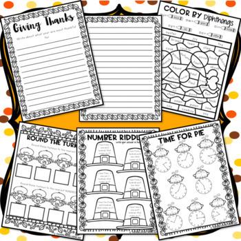 Thanksgiving Break Packet - Third Grade