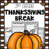 Thanksgiving Break Packet - Third Grade