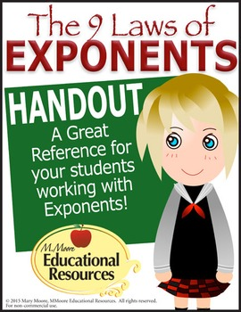 Laws of EXPONENTS - PRINTABLE - A wonderful reference hand