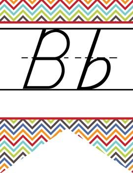 the BRAINY BUNCH - Alphabet Banner, handwriting, A to Z, D'Nealian manuscript