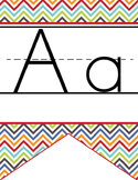 the BRAINY BUNCH - Alphabet Flag Banner, handwriting, A to Z, ABC print font