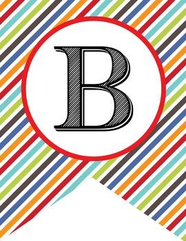 the BRAINY BUNCH - Alphabet Flags, CREATE a BANNER, stripes