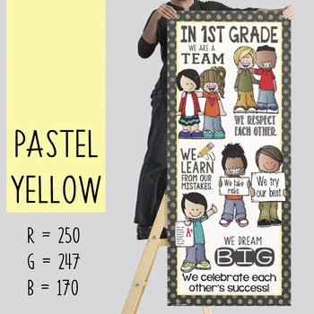 the BRAINY BUNCH - BANNER - LG - In 1st Grade {melonheadz} PASTEL yellow
