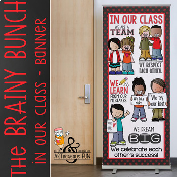 the BRAINY BUNCH - BANNER - LG - In Our CLASS {melonheadz} BOLD red