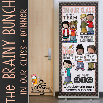 the BRAINY BUNCH - BANNER - LG - In Our CLASS {melonheadz} PASTEL peach