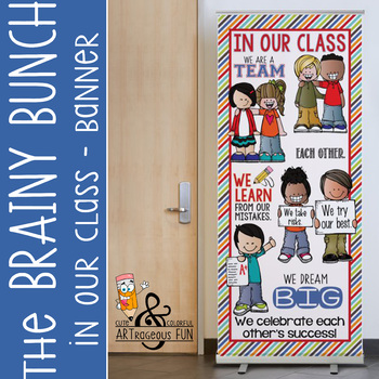 the BRAINY BUNCH - BANNER - LG - In Our Class {melonheadz} STRIPES - tampa