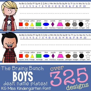 the BRAINY BUNCH - BOYS - Student desk nameplates, you personalize