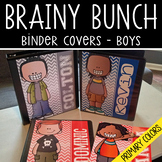 the BRAINY BUNCH - BOYS - Student Binder Covers - primary colors - {Melonheadz}