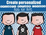 the BRAINY BUNCH - BOYS - Student Binder Covers - black hair  {Melonheadz}