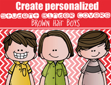the BRAINY BUNCH - BOYS - Student Binder Covers - brown hair  {Melonheadz}