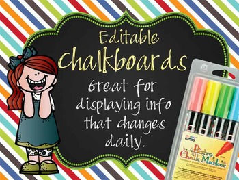 the BRAINY BUNCH - Class Decor: editable chalkboard POSTERS /Bistro Chalk Marker