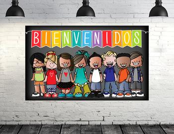 the BRAINY BUNCH - Classroom Decor:  BANNER, Spanish, Bienvenido {Melonheadz}