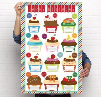 the BRAINY BUNCH - Classroom Decor: Happy Birthday - size 24 x 36 poster