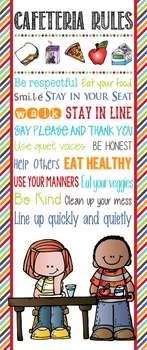 the BRAINY BUNCH - Classroom Decor: LARGE BANNER, Cafeteria RULES