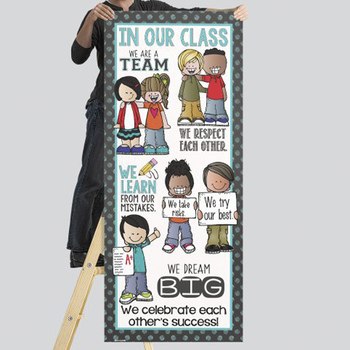 the BRAINY BUNCH - Classroom Decor: LARGE BANNER, In Our Class / polka dot TEAL