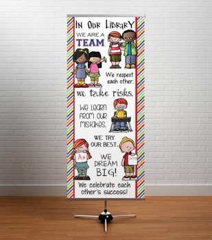 the BRAINY BUNCH - Classroom Decor: LARGE BANNER, In Our Library