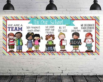 the BRAINY BUNCH - Classroom Decor: LARGE BANNER, In Our School - Horizontal