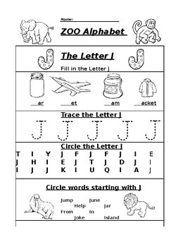 the Letter J Zoo Alphabet Worksheet