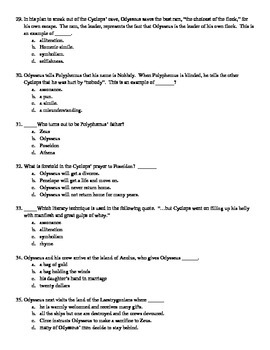 the Odyssey Test and Answer Key