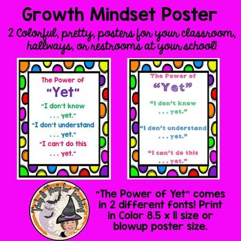 the Power of YET poster growth mindset positive affirmatio