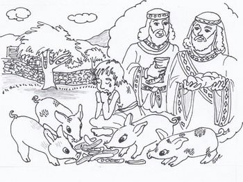 the Prodigal Son feeding Swine cute coloring page for Bible class