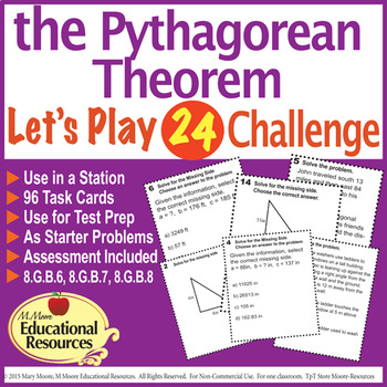 Pythagorean Theorem - 'Lets Play 24 Challenge' - 96 Multi-Level Task Cards