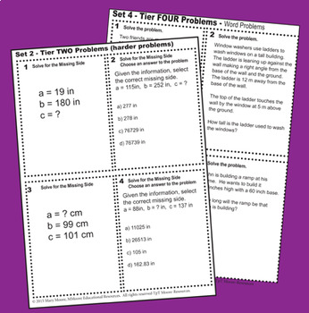 Pythagorean Theorem - 'Lets Play 24 Challenge Game' - 96 Multi-Level Task Cards