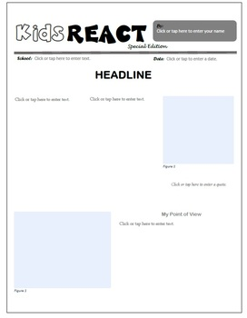 the White House Current Events Assignment (Newspaper Report)
