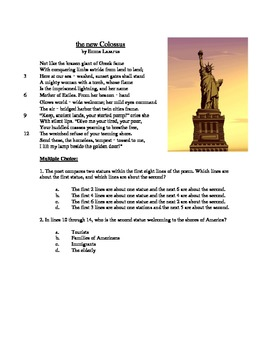 The New Colossus - Literary Text Test Prep