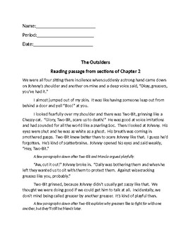 the outsiders chapter 2 reading passage 1