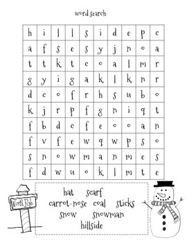 Snowman Worksheet and Activities