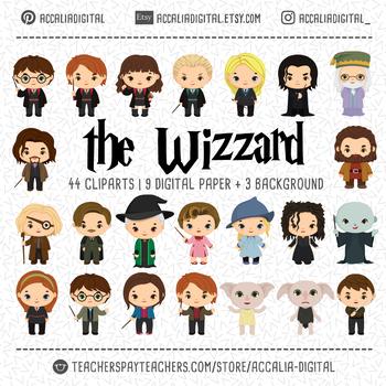 wizzard Harry clipart, the wizard harry bundle