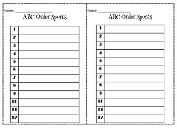 Themed ABC order activities