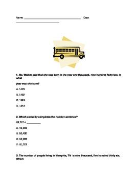 third grade basic math test