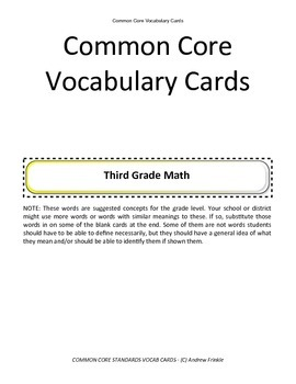 third grade common core standards vocabulary cards Math ELA